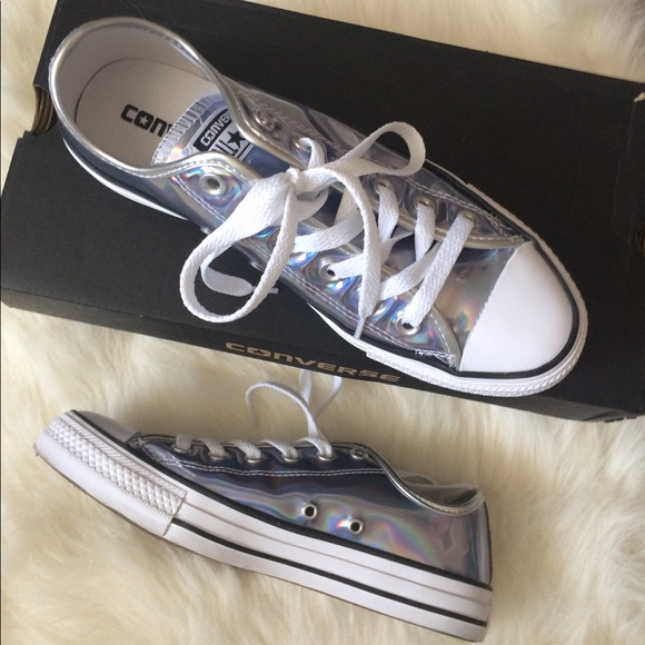 bd1eb527016 Converse Shoes - Silver holographic All Star Lo sneaker womens 8